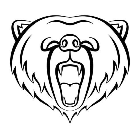 Icône ours rugissant isolé sur fond blanc. Ours modèle de logo, conception de tatouage, impression de t-shirt. Logo contour des animaux sauvages. vecteur