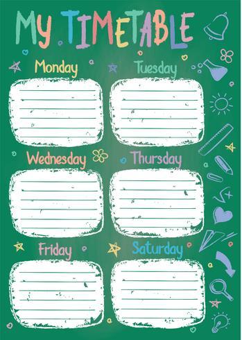 Modèle de calendrier scolaire à bord de la craie avec le texte écrit couleur craie à la main Programme de cours hebdomadaire dans un style fragmentaire décoré de griffonnages d'école dessinés à la main sur tableau vert vecteur