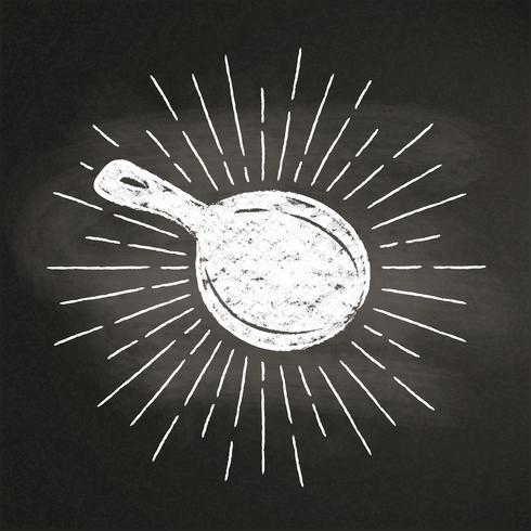 Silhoutte de craie d'une casserole avec des rayons de soleil vintage sur tableau noir. Bon pour la cuisson des logotypes, des bades, des menus ou des affiches. vecteur