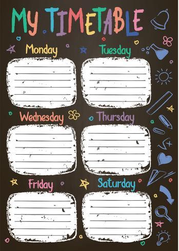 Modèle de calendrier scolaire à bord de la craie avec le texte écrit couleur craie à la main Programme hebdomadaire de cours dans un style fragmentaire décoré de griffonnages d'école dessinés à la main sur blackbord. vecteur