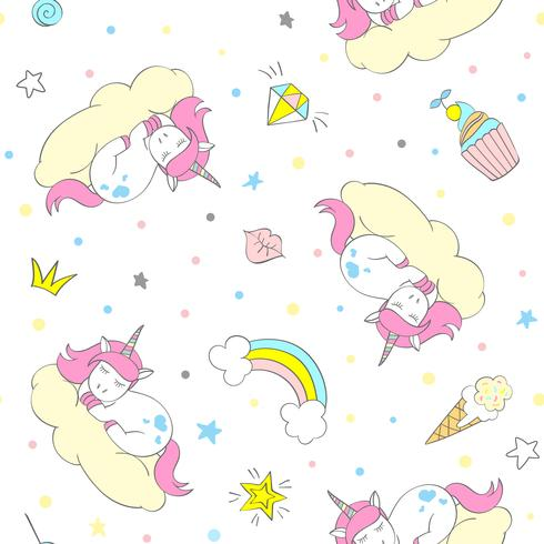 Modèle de Licorne vectorielle continue pour le textile pour enfants, impressions, wallpapper, sccrapbooking. Doodle Licorne mignonne avec des éléments de doodle répétant l'arrière-plan. vecteur