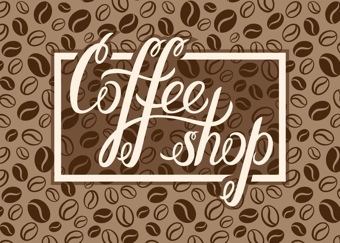 Logo de café vecteur sur fond de grains de café pour menu, cartes, étiquettes. Restaurant, café, bar, logo vectoriel café avec main lettrage café.