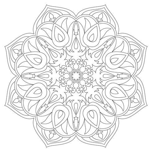 Mandala Éléments décoratifs ethniques. Fond dessiné à la main. Motifs islam, arabe, indien, ottoman. Symbole de mandala monochrome. Mandala JPG. Mandala contour noir. Mandala traditionnel. Mandala de vecteur. vecteur