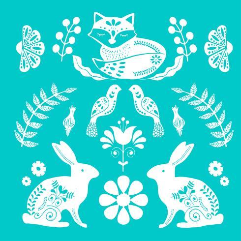 Modèle d'art populaire scandinave avec maison minuscule, oiseaux et fleurs vecteur