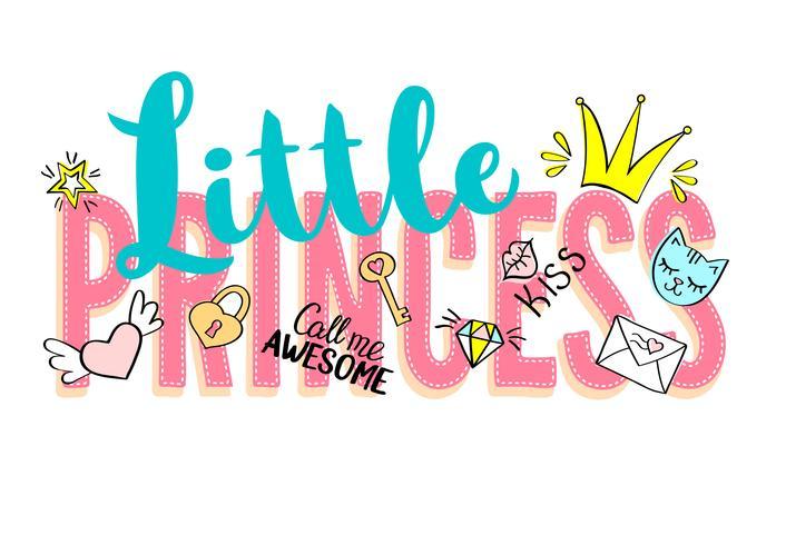 Lettrage de petite princesse avec des gribouillis et des phrases dessinées à la main pour la conception de cartes, un t-shirt pour fille, des affiches Slogan dessiné à la main. vecteur