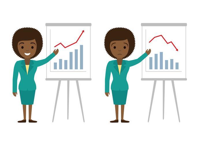 Illustration vectorielle de femme d'affaires américaine afro montrant des graphiques. Succès financier, concepts de plate illustration de perte financière. Concepts de design plat pour bannières web, sites web, infographie. vecteur