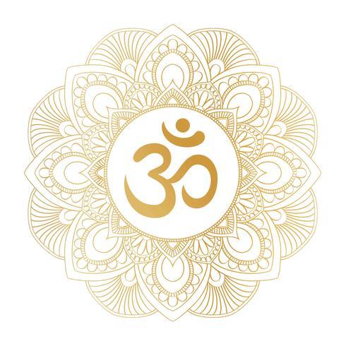 Symbole Aum Om Ohm doré sur un ornement décoratif en mandala rond, idéal pour les imprimés de t-shirts, les affiches, les créations textiles et les articles de typographie. vecteur