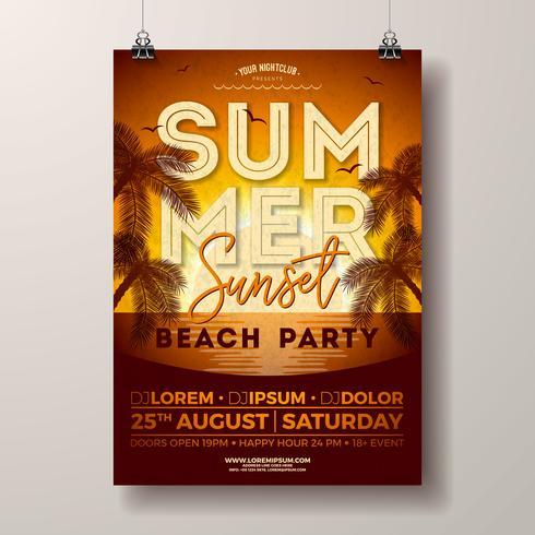 Vector Summer Party Flyer Design avec palmiers et océan sur fond de paysage coucher de soleil. Modèle d'illustration de vacances d'été avec des plantes tropicales