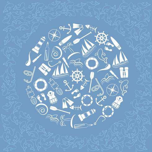 Éléments nautiques en cercle. vecteur
