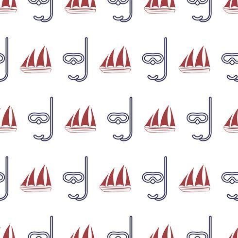 Modèle sans couture nautique avec navire et masque. vecteur
