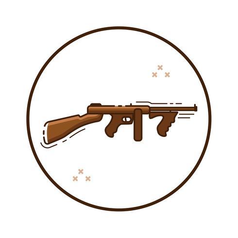 Icône de pistolet automatique de dessin au trait vecteur