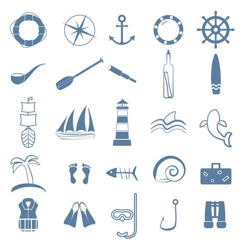 océan ligne art icônes définies vecteur
