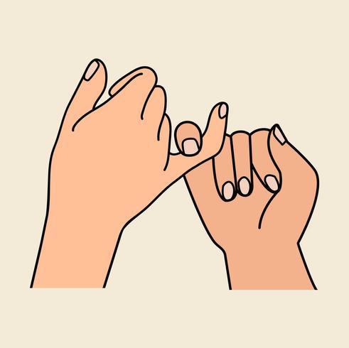 Pinky cute promesse mains design plat vecteur