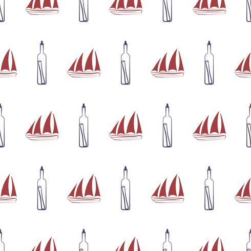 Modèle sans couture nautique avec bateau et bouteille. vecteur