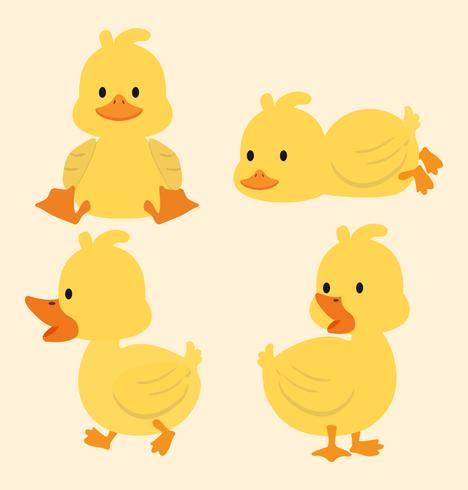 Jeu de dessin animé mignon canards jaunes vecteur
