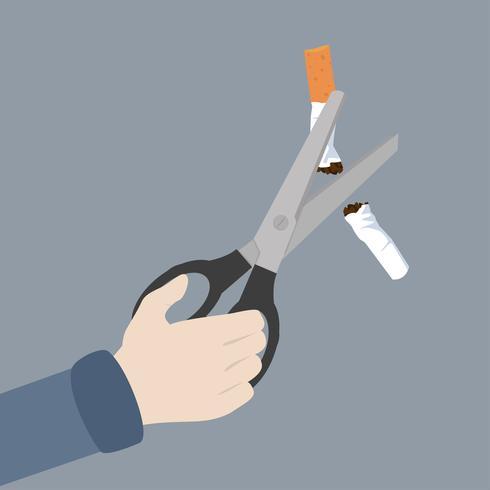 ciseaux à main coupant une cigarrette vecteur