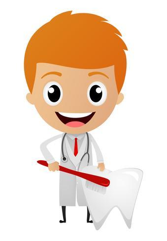 Caricature de dentiste heureux vecteur