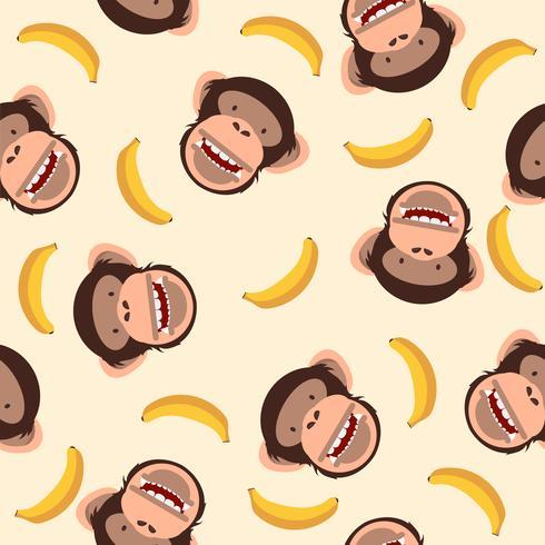 Jolie tête de chimpanzé à motif banane vecteur