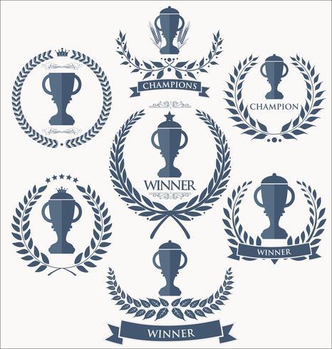 Collection de badges et étiquettes de trophées et récompenses vecteur