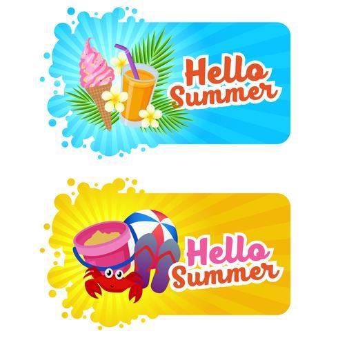 bonjour bannière d'été avec thème de plage amusante vecteur