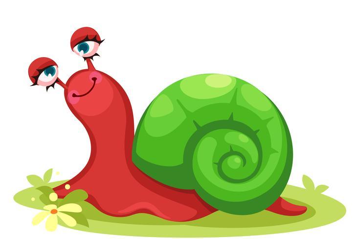 Dessin animé mignon d'escargot rouge vecteur