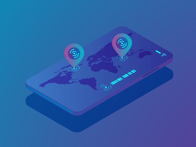 smartphone mobile avec application de localisation vecteur