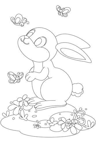 Lapin mignon avec dessin de contour de dessin animé papillon vecteur