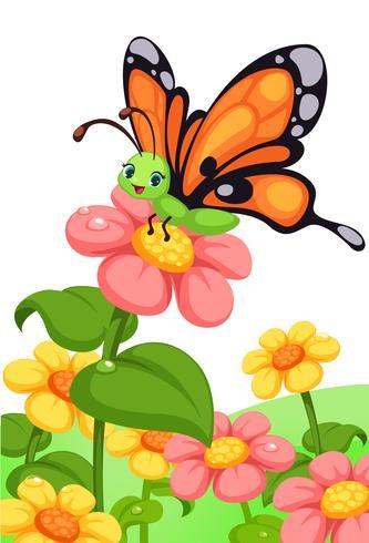 joli papillon sur des fleurs colorées vecteur