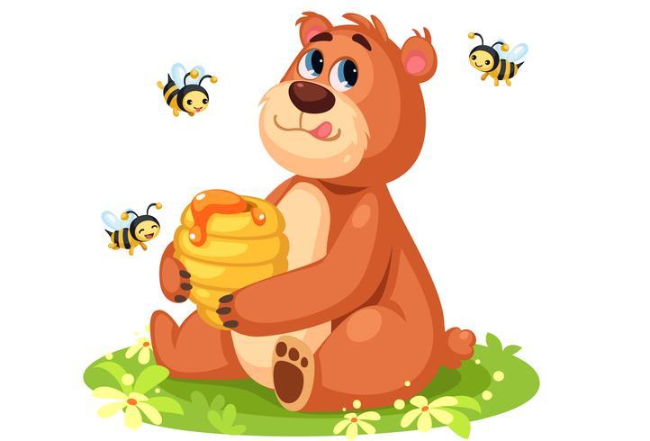 Dessin animé mignon ours tenant une ruche d'abeilles vecteur