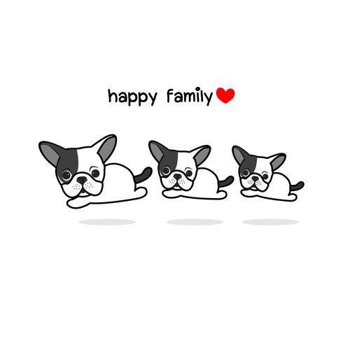 Mignonne mère père et bébé chien. Illustration vectorielle de joyeux animaux famille cartoon. vecteur