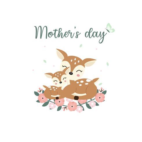 Animaux mignons pour la carte de fête des mères. Caricature de maman et son bébé de cerf. vecteur