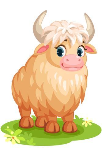 Dessin animé mignon de yak blanc vecteur