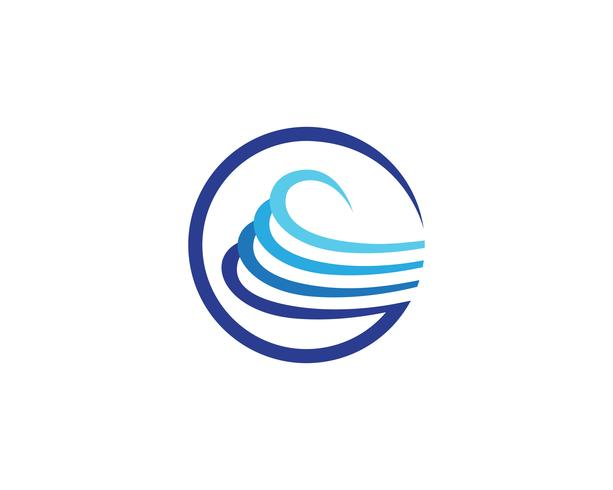 Modèle de vecteur logo et plage de vagues