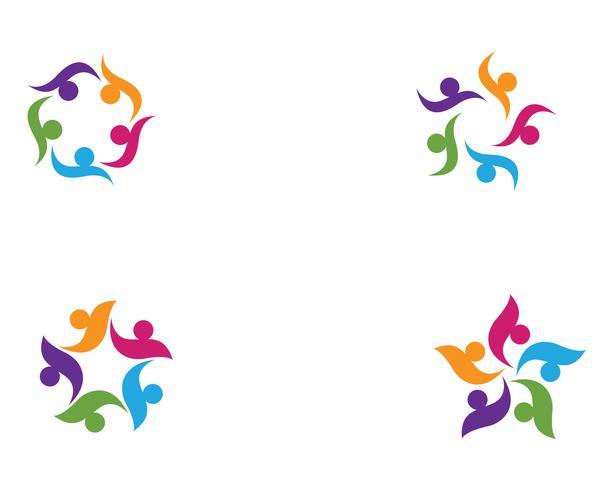 Modèle de conception de groupe de personnes de la communauté, logo et icône sociale vecteur