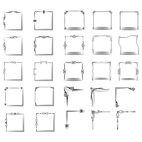 un grand ensemble de cadres de différentes formes. Set de Vector Vintage Frame