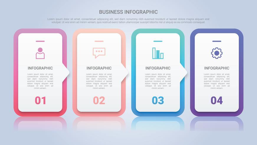 Modèle d'infographie pour entreprise avec une étiquette multicolore en quatre étapes vecteur