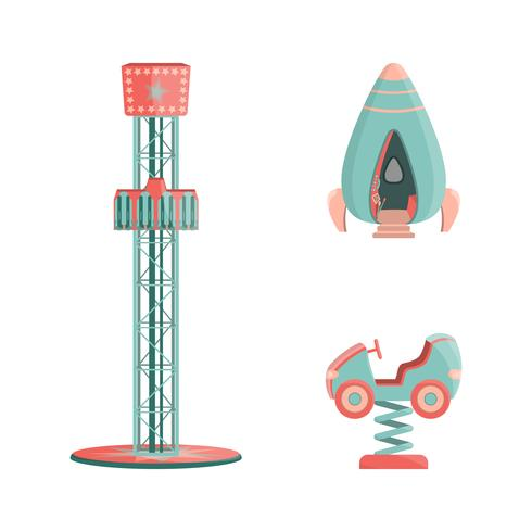 Ensemble d'icônes de manèges parc d'attractions de dessin animé vecteur