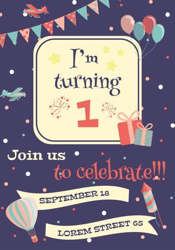 Carte d'invitation d'anniversaire. vecteur