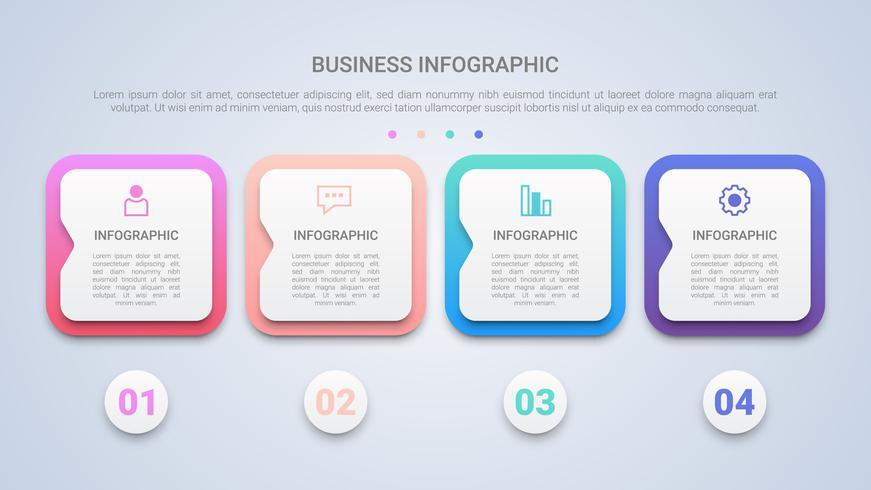 Modèle d'infographie moderne 3D pour les entreprises avec une étiquette multicolore en quatre étapes vecteur
