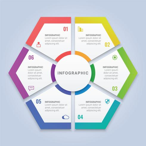 Modèle d'infographie en hexagone coloré avec six options pour la disposition du flux de travail, diagramme, rapport annuel, conception Web vecteur