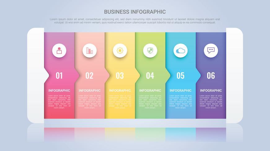 Modèle d'infographie moderne pour entreprise avec une étiquette multicolore en six étapes vecteur