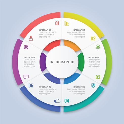 Modèle d'infographie en cercle avec six options pour la disposition du flux de travail, diagramme, rapport annuel, conception Web vecteur