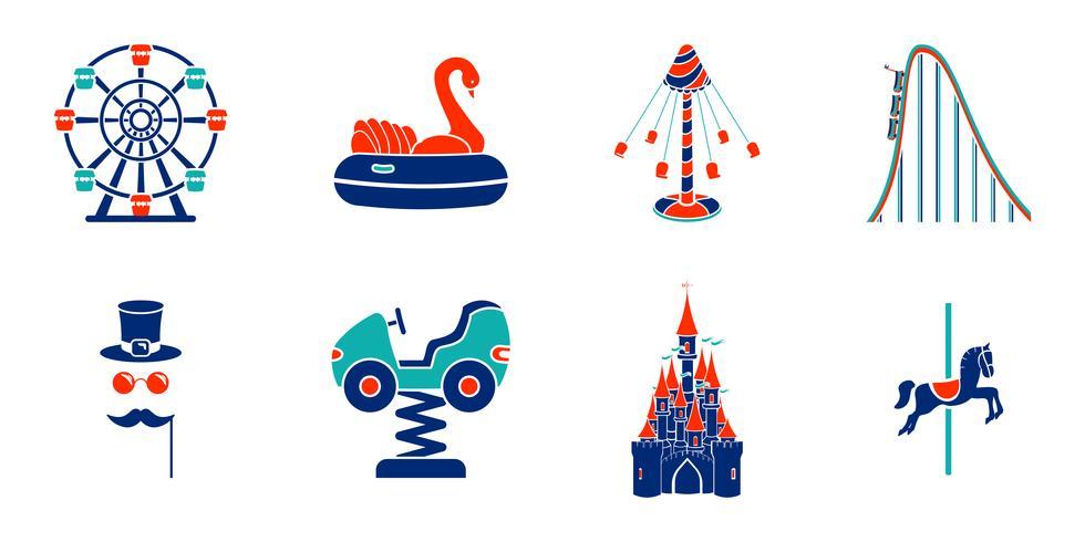 Ensemble d'icônes de ride de parc d'attractions art de ligne. vecteur