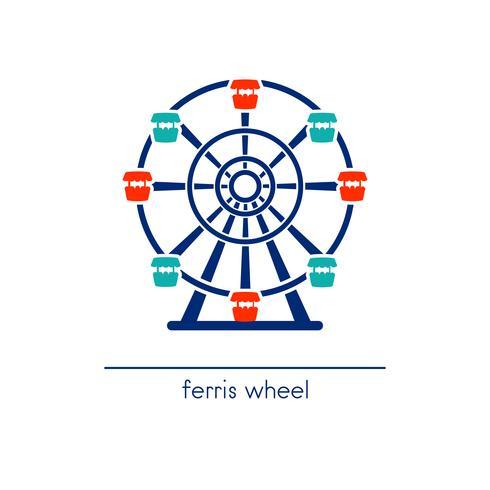 Icône d'art de grande roue. Parc d'attractions. vecteur
