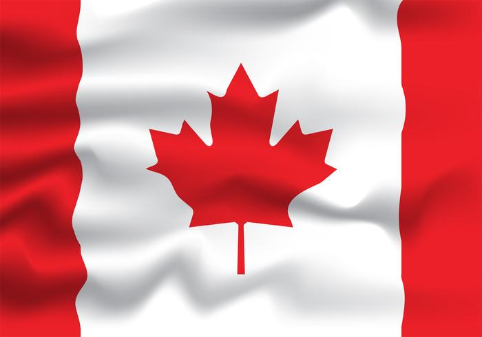 Conception réaliste de vecteur drapeau Canada