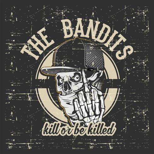 bandits de crâne portant casquette et bandana main dessin vectoriel