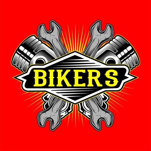 logo de motards de style grunge piston et clé main dessin vectoriel