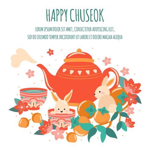 Mi Festival d'automne avec théière mignonne, gâteau de lune, lanterne, Acron, lapin, bambou, fleur de cerisier, abricot, festival Chuseok / Hangawi. Jour de Thanksgiving, vecteur - Illustration