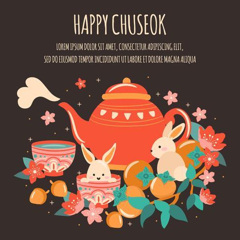 Mi Festival d'automne avec théière mignonne, gâteau de lune, lanterne, gland, lapin, bambou, fleur de cerisier, abricot, festival Chuseok / Hangawi. Jour de Thanksgiving, vecteur - Illustration