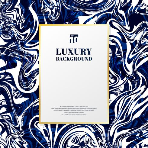 Cadre rectangle modèle or avec un espace pour le texte sur la texture et fond de marbre bleu et blanc. Style de luxe. vecteur